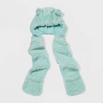 Girls' Sherpa Hooded Scarf - Cat & Jack Mint, Girl's, Blue