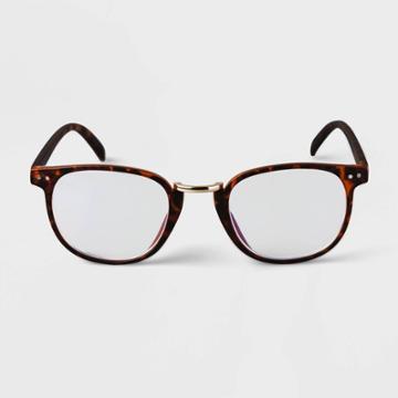 Men's Tortoise Print Round Metal Nose Bridge Blue Light Filtering Reading Glasses - Goodfellow & Co Brown