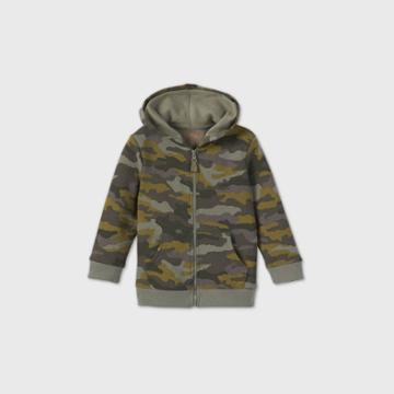 Toddler Boys' Fleece Zip-up Hoodie Sweatshirt - Cat & Jack Green