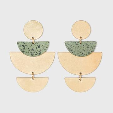 Layered Half Moon With Speckled Detail Drop Earrings - Universal Thread