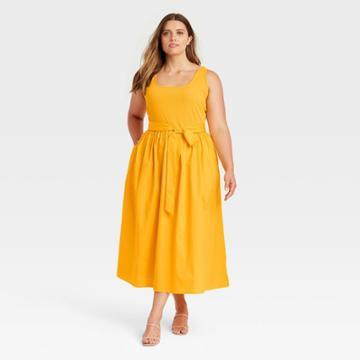 Women's Plus Size Sleeveless Knit Woven Dress - Who What Wear Gold