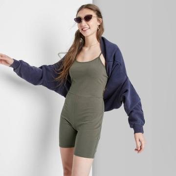 Women's Sleeveless Bike Short Bodysuit - Wild Fable Olive Green