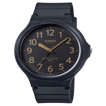 Casio Men's Super Easy Reader Watch, Black/gold Dial - Mw240-1b2v, Gold Black
