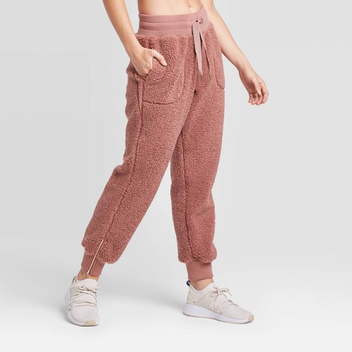 Women's High-waisted Sherpa Pants - Joylab Mauve M, Women's, Size: