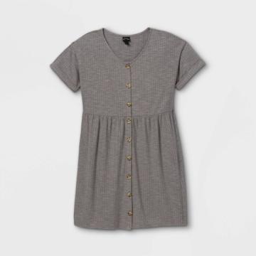 Girls' Flowy Button-front Short Sleeve Dress - Art Class Gray