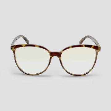Women's Blue Light Filtering Cateye Round Plastic Sunglasses - Wild Fable Brown, Blue/brown