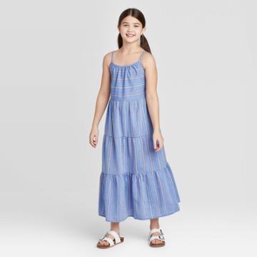Girls' Tiered Chambray Maxi Dress - Cat & Jack Blue