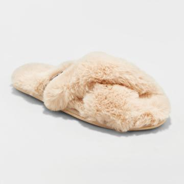 Gilligan & O'malley Women's Niah Faux Fur Slippers Beige