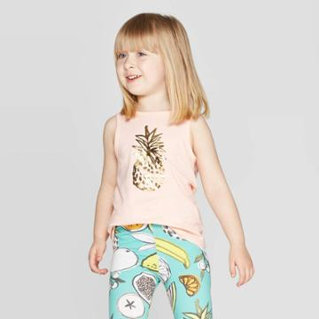 Toddler Girls' 'fruit' Graphic Tank Top - Cat & Jack Peach 2t, Girl's, Orange