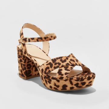 Women's Gabriella Microsuede Leopard Print Mid Heel Platform Pumps - A New Day Brown