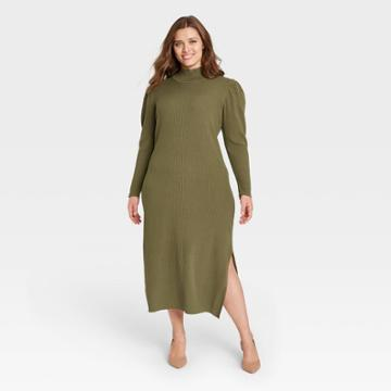 Women's Plus Size Puff Long Sleeve Sweater Dress - Who What Wear Green