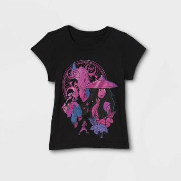 Girls' Disney Raya Short Sleeve Graphic T-shirt - Black