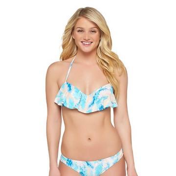 Blue Feather Print Push Up Flounce Halter Bikini Top - Xhilaration