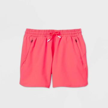 Girls' Quick Dry Board Shorts - All In Motion Bright Red