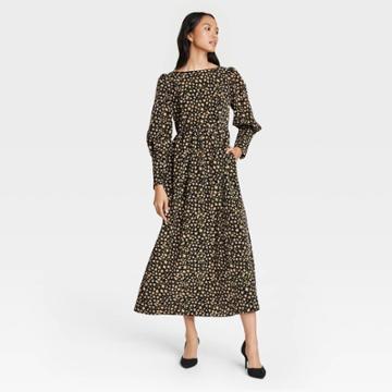 Women's Leopard Print Puff Long Sleeve Dress - Who What Wear Brown