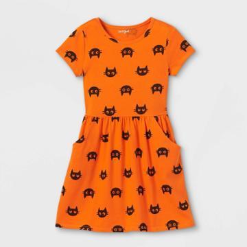 Girls' 'halloween Cat' Printed Knit Short Sleeve Dress - Cat & Jack Orange/black