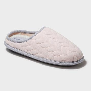Women's Dearfoams Cable Wide Width Quilted Clog Slide Slippers - Pink Lw (9-10), Pale Pink