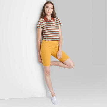 Women's High-rise Bike Shorts - Wild Fable Mustard Yellow