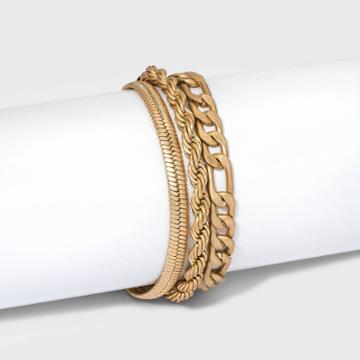 Multi Rope And Cobra Chain Bracelet - Universal Thread Worn Gold