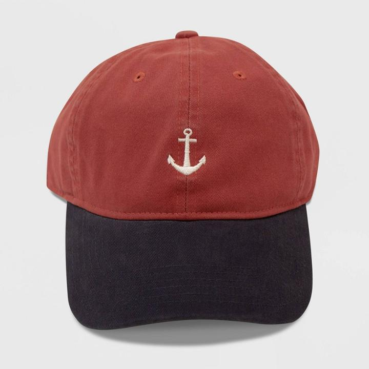 Concept One Men's Anchor Icon Dad Baseball Hat - Red One Size, Adult Unisex