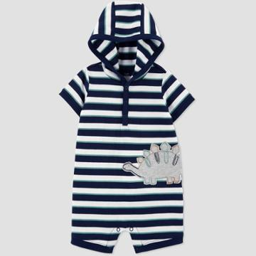 Baby Boys' Dino Striped Hooded Romper - Just One You Made By Carter's Navy