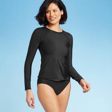 Women's Long Sleeve Rashguard - All In Motion Black