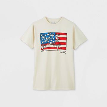 Women's Keith Haring Flag Short Sleeve Boyfriend Graphic T-shirt - Ivory