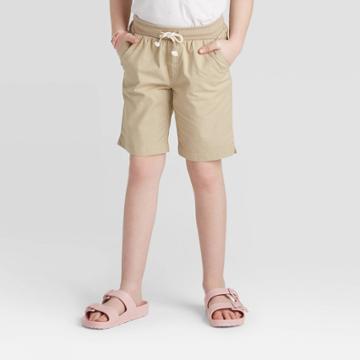 Girls' Knit Waist Twill Bermuda Shorts - Cat & Jack Khaki Xs, Girl's, Beige