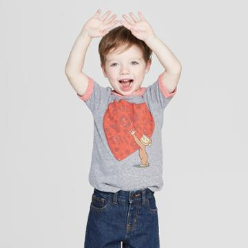 Happy Threads Toddler Boys' Curious George Short Sleeve T-shirt - Gray