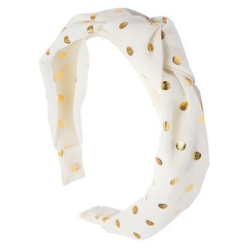 Ta-da Girls' Fabric-knot Headband White Gold Polka Dot
