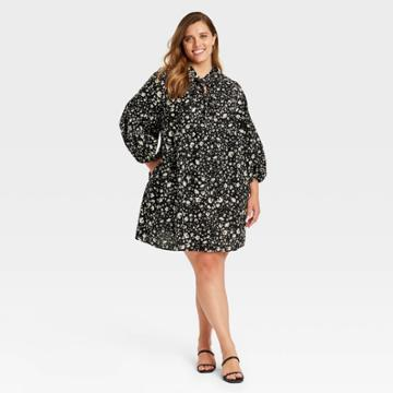 Women's Plus Size Puff Long Sleeve A-line Dress - Who What Wear Jet Black Floral