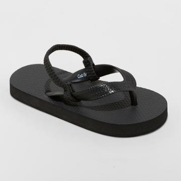 Toddler Boys' Lance Flip Flop Sandals - Cat & Jack Black S, Boy's,