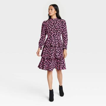 Women's Floral Print Puff Long Sleeve Tiered Dress - Who What Wear Pink