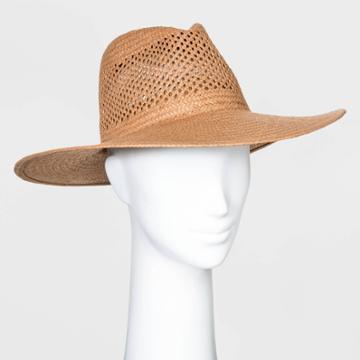 Women's Straw Wide Brim Fedora Hats - Universal Thread Brown One Size, Women's