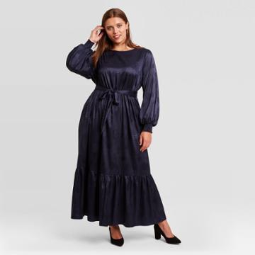 Women's Plus Size Long Sleeve Dress - Ava & Viv Navy X, Blue