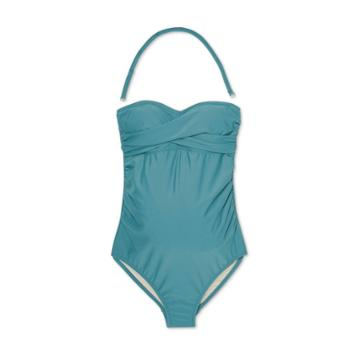 Maternity Bandeau Twist One Piece Swimsuit - Isabel Maternity By Ingrid & Isabel Teal