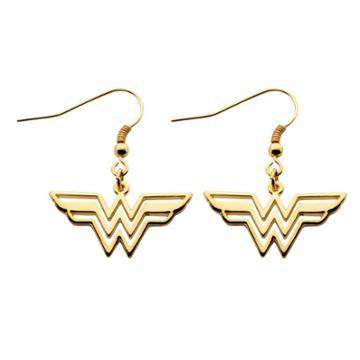 Women's Dc Comics Wonder Woman Logo Cutout Earrings - Gold,
