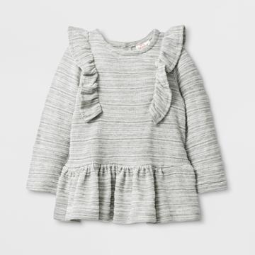 Baby Girls' Long Sleeve Knit Jacquard Tunics - Cat & Jack Gray