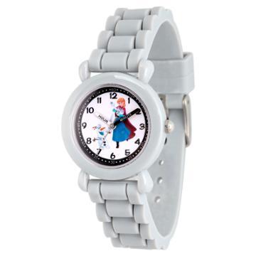 Girls' Disney Frozen Anna And Olaf Gray Plastic Time Teacher Watch - Gray