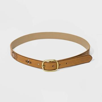 Women's 27 Mm Screened Floral Print Hand - Stained Belts - Universal Thread Tan S, Women's, Size: