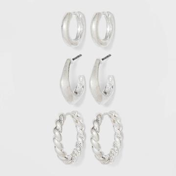 Hinged Twisted And Smooth Hoop Earrings - Universal Thread