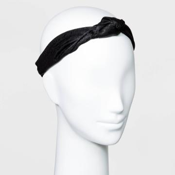 Solid Hammered Satin With Front Knot And Elastic Back Headwrap -a New Day Black