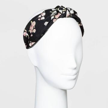 Floral Print Matte Satin Fabric Cover Plastic With Knot Top Headband - Wild Fable Black