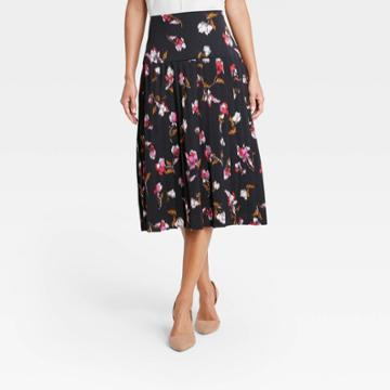 Women's Floral Pleated Midi Skirt - Who What Wear Pink