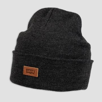 Denizen From Levi's Men's Leather Patch Beanie - Charcoal Gray