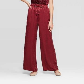 Women's Mid-rise Tie Front Satin Wide Leg Palazzo Pants - Xhilaration Burgundy