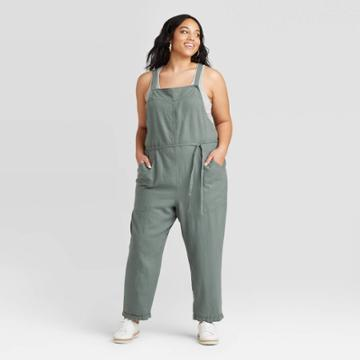 Women's Plus Size Sleeveless Square Neck Belted Overalls Jumpsuit - Universal Thread Olive 1x, Women's, Size:
