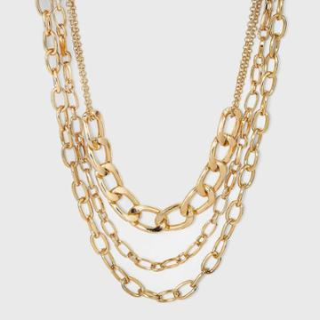 Multi Row Layered Chain Linked Necklace - A New Day Gold
