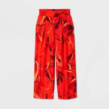 Women's Floral Print High-rise Wide Leg Cropped Pull-on Pants - A New Day Red