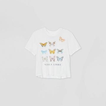 Recyclo Women's Butterfly Short Sleeve Boxy Cropped Graphic T-shirt - White